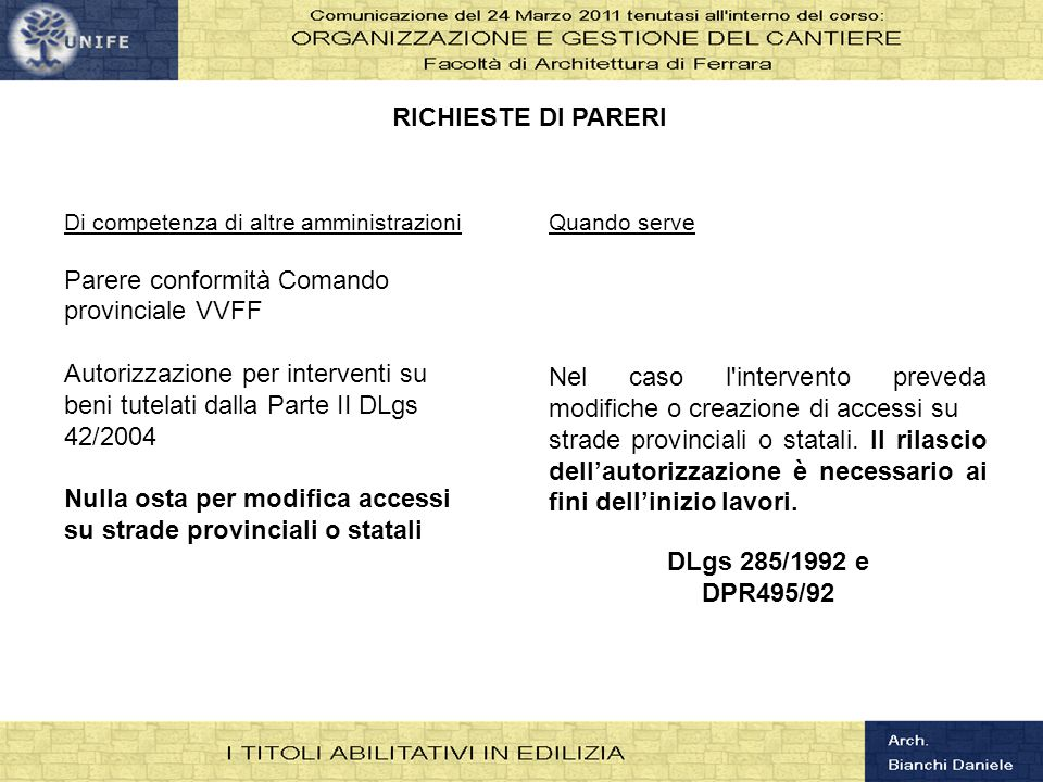 RICHIESTE DI PARERI DLgs 285/1992 e DPR495/92