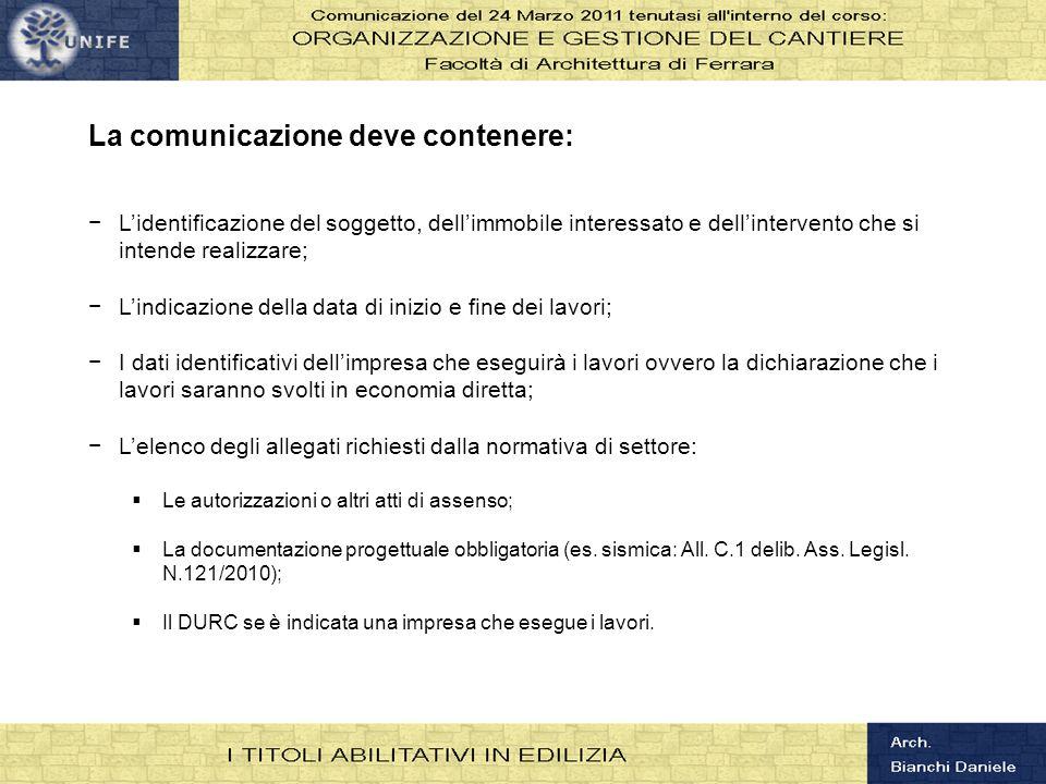 La comunicazione deve contenere: