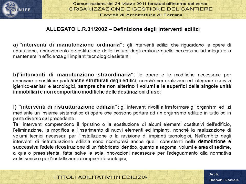 ALLEGATO L.R.31/2002 – Definizione degli interventi edilizi