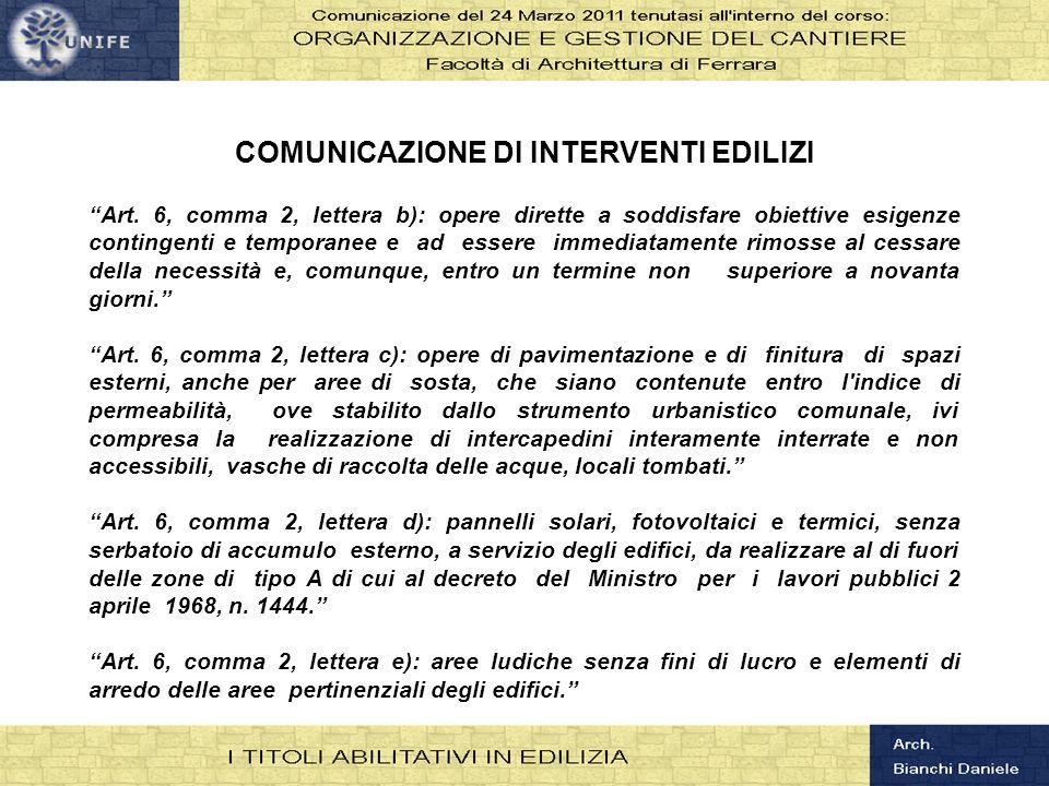 COMUNICAZIONE DI INTERVENTI EDILIZI