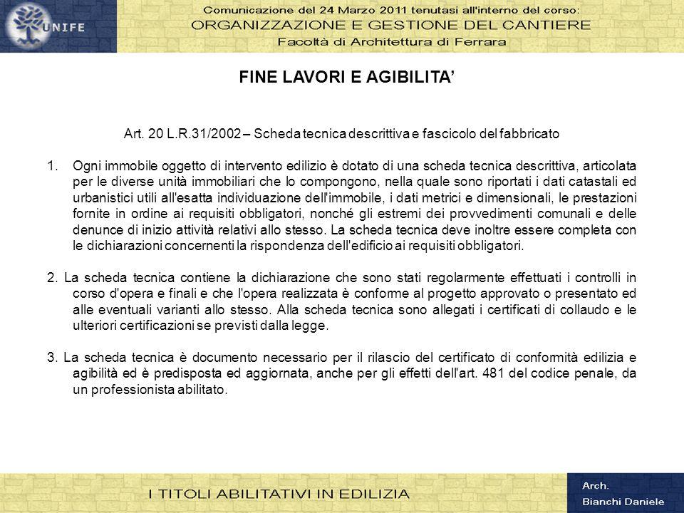 FINE LAVORI E AGIBILITA'