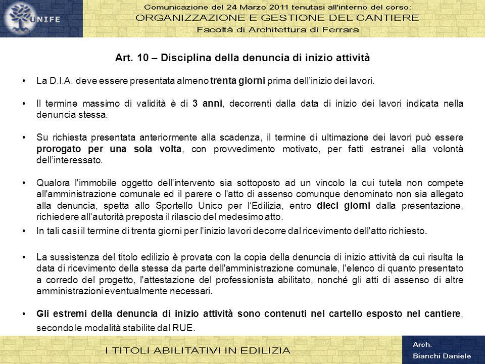 Art. 10 – Disciplina della denuncia di inizio attività