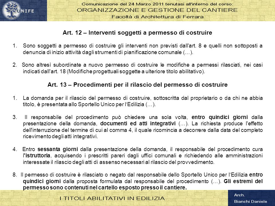 Art. 12 – Interventi soggetti a permesso di costruire