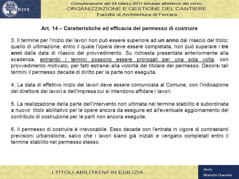 Art. 14 – Caratteristiche ed efficacia del permesso di costruire