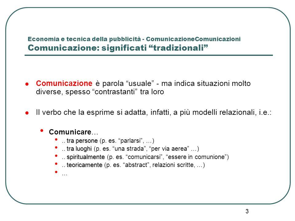 Economia e tecnica della pubblicità - ComunicazioneComunicazioni Comunicazione: significati tradizionali