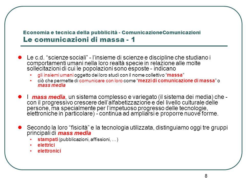 Economia e tecnica della pubblicità - ComunicazioneComunicazioni Le comunicazioni di massa - 1