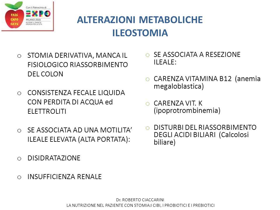 ALTERAZIONI METABOLICHE ILEOSTOMIA