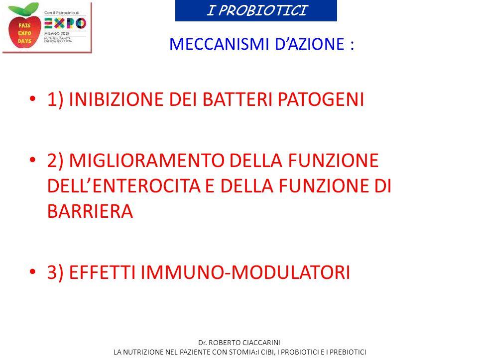 1) INIBIZIONE DEI BATTERI PATOGENI