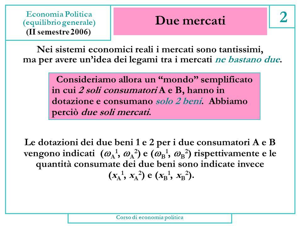 (equilibrio generale) Corso di economia politica