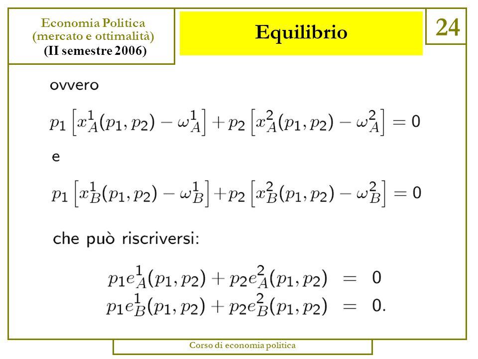 (mercato e ottimalità) Corso di economia politica