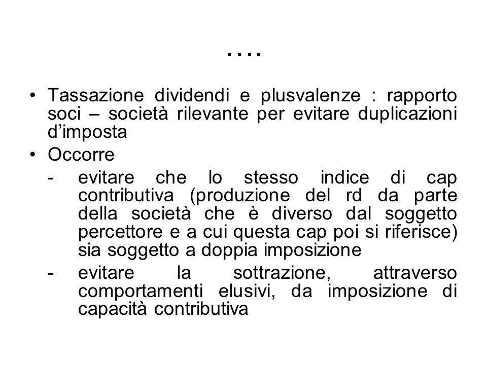…. Tassazione dividendi e plusvalenze : rapporto soci – società rilevante per evitare duplicazioni d'imposta.