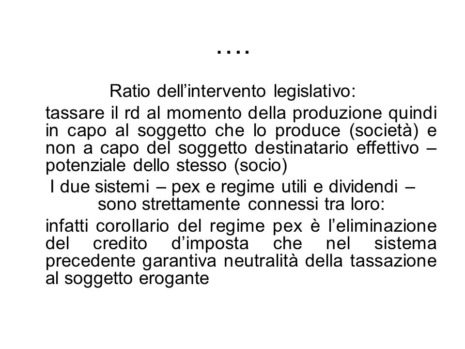 Ratio dell'intervento legislativo: