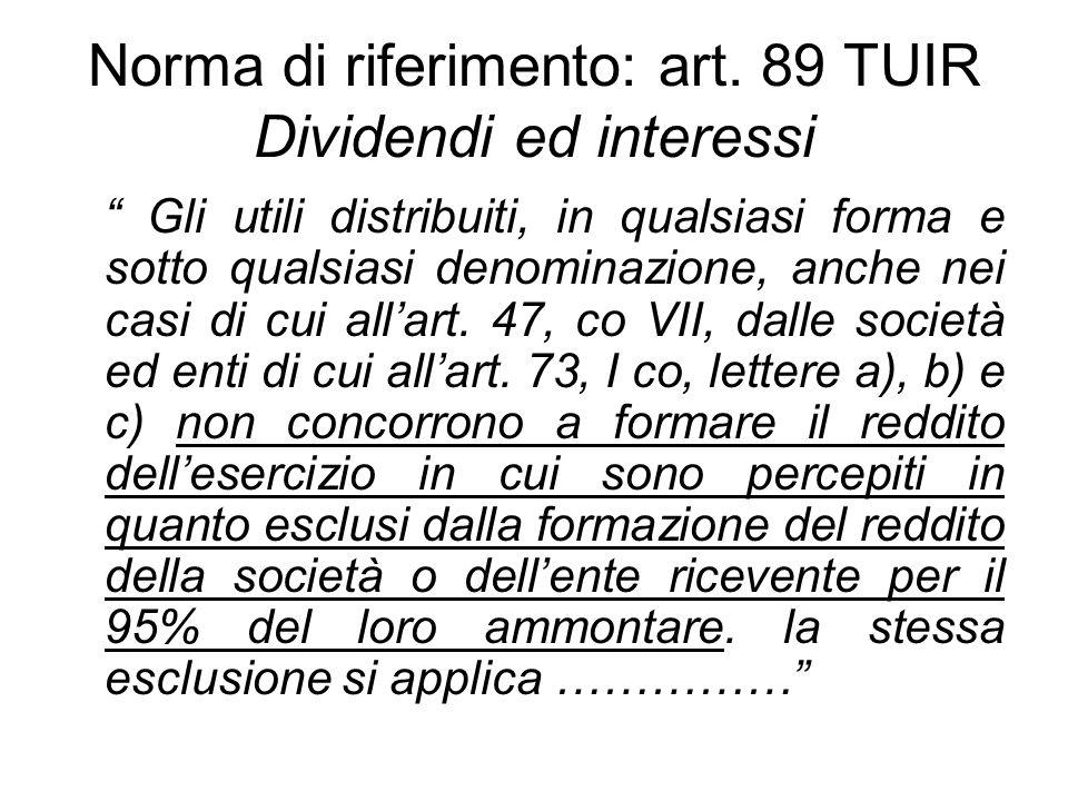 Norma di riferimento: art. 89 TUIR Dividendi ed interessi