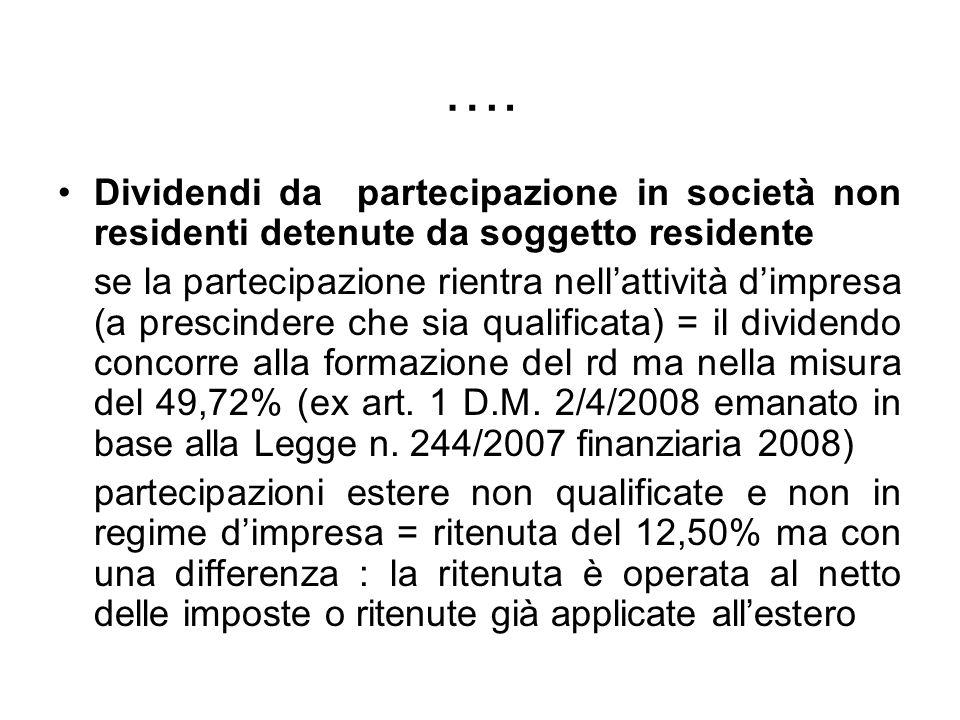 …. Dividendi da partecipazione in società non residenti detenute da soggetto residente.