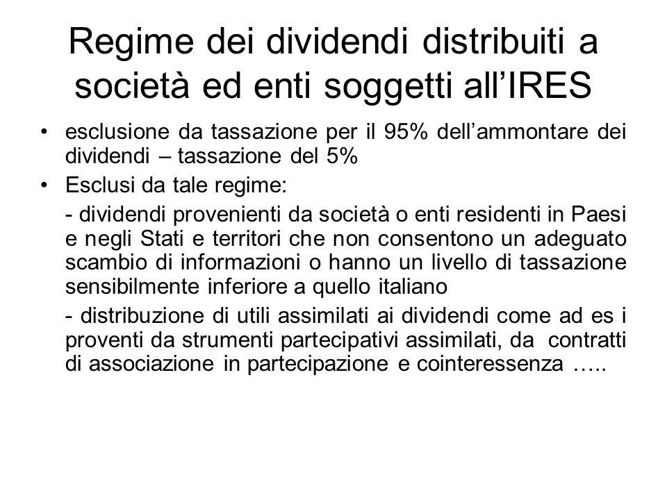 Regime dei dividendi distribuiti a società ed enti soggetti all'IRES