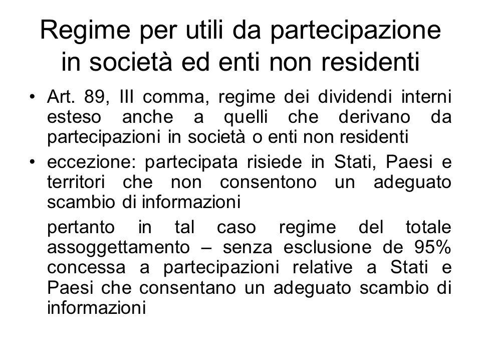 Regime per utili da partecipazione in società ed enti non residenti