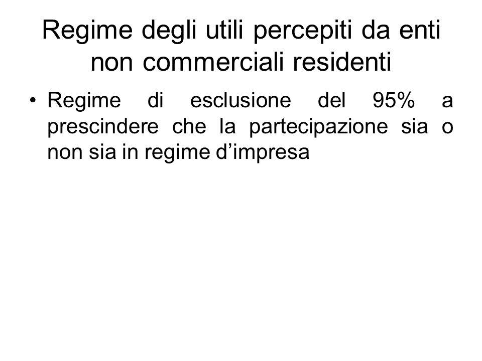 Regime degli utili percepiti da enti non commerciali residenti