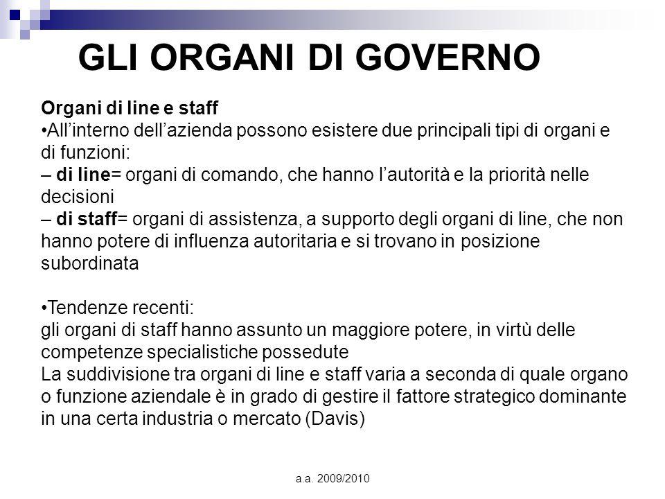 GLI ORGANI DI GOVERNO Organi di line e staff