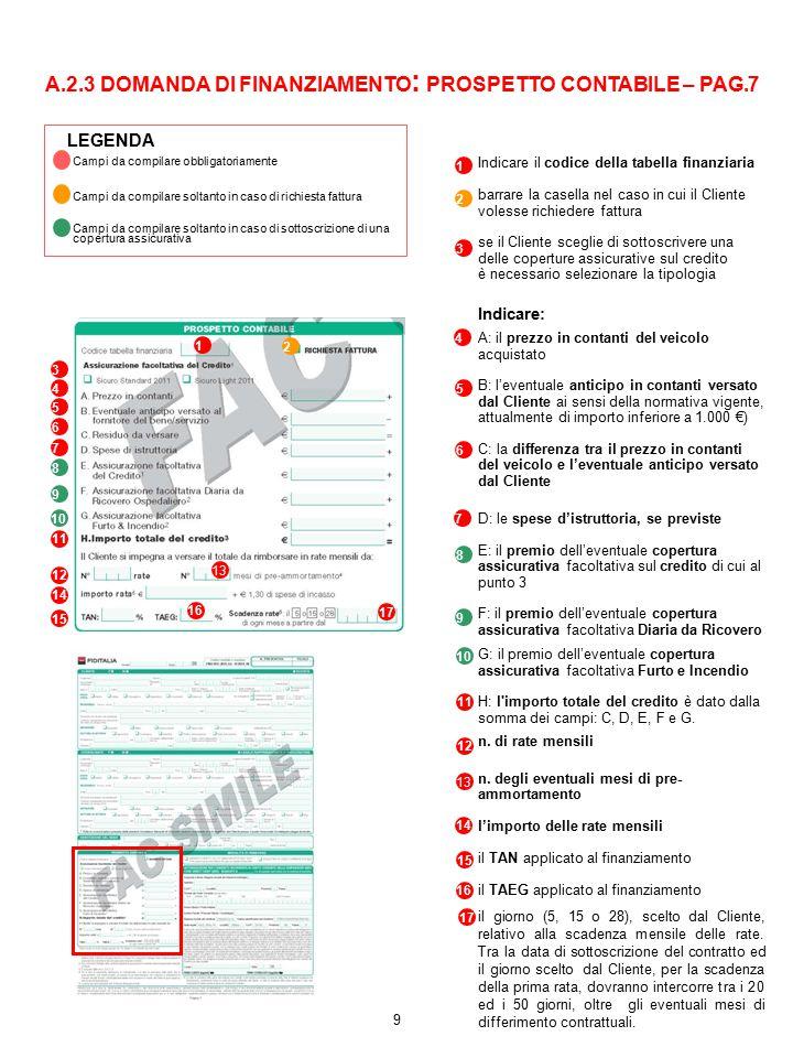 A.2.3 DOMANDA DI FINANZIAMENTO: PROSPETTO CONTABILE – PAG.7