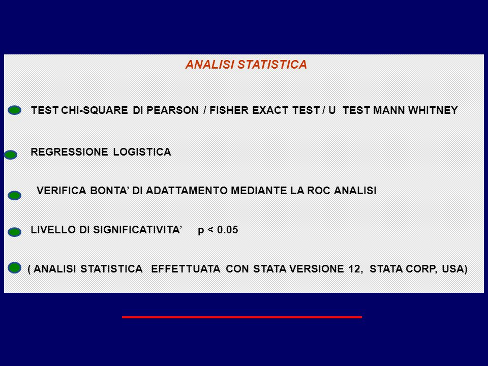 ANALISI STATISTICA TEST CHI-SQUARE DI PEARSON / FISHER EXACT TEST / U TEST MANN WHITNEY. REGRESSIONE LOGISTICA.