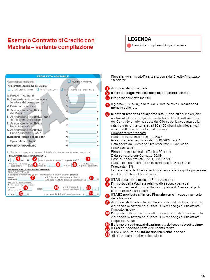 Esempio Contratto di Credito con Maxirata – variante compilazione