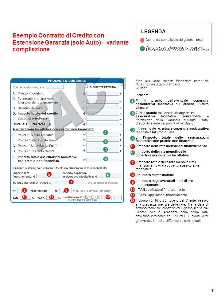 LEGENDA Campi da compilare obbligatoriamente. Esempio Contratto di Credito con Estensione Garanzia (solo Auto) – variante compilazione.