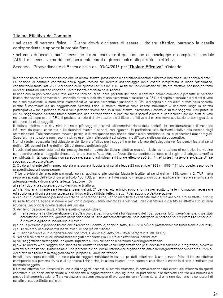 Titolare Effettivo del Contratto: