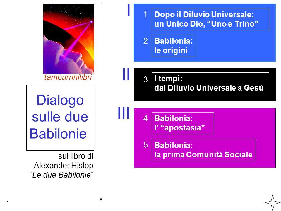 I II III Dialogo sulle due Babilonie 1 Dopo il Diluvio Universale: