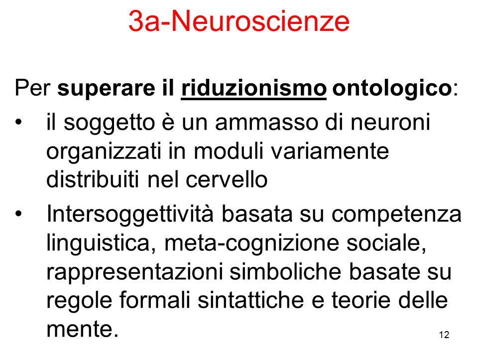 3a-Neuroscienze Per superare il riduzionismo ontologico:
