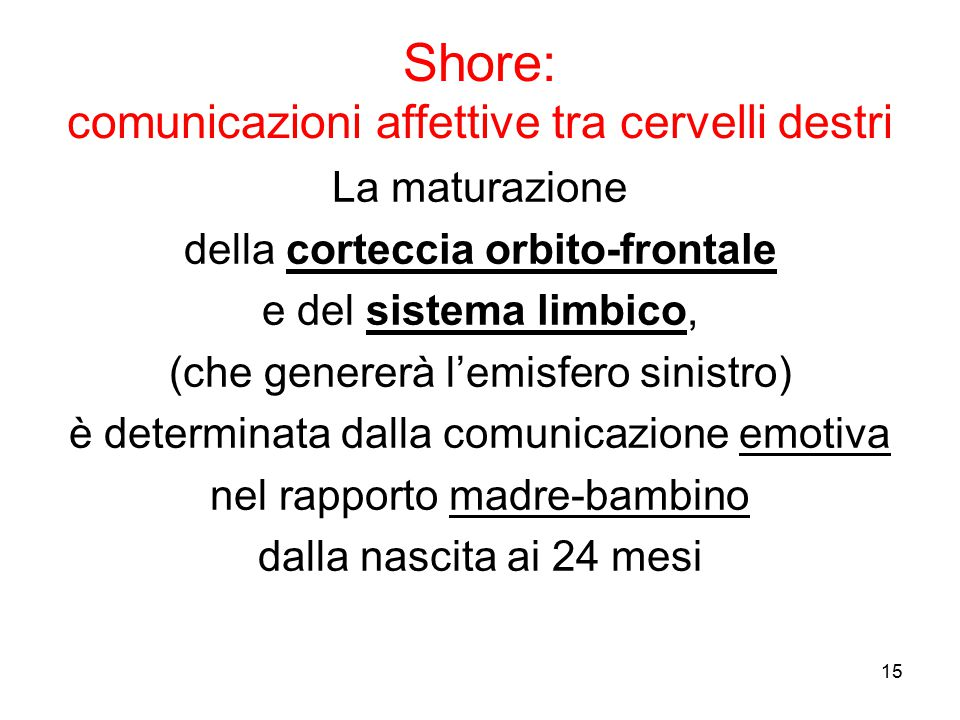 Shore: comunicazioni affettive tra cervelli destri