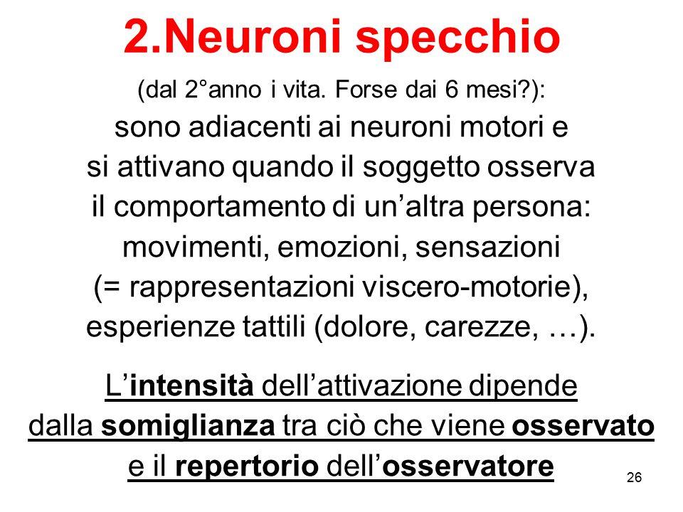 2.Neuroni specchio sono adiacenti ai neuroni motori e