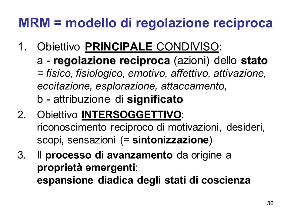MRM = modello di regolazione reciproca