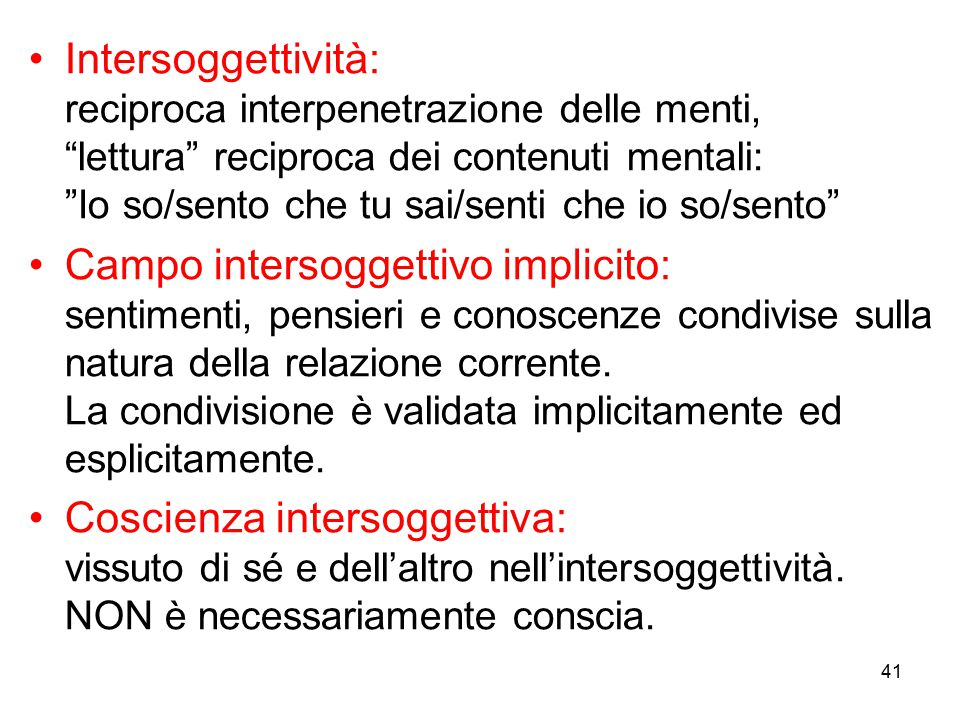 Intersoggettività: reciproca interpenetrazione delle menti, lettura reciproca dei contenuti mentali: Io so/sento che tu sai/senti che io so/sento