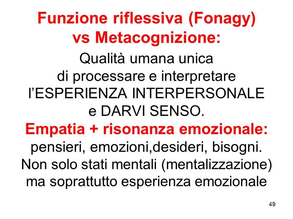 Funzione riflessiva (Fonagy) vs Metacognizione: