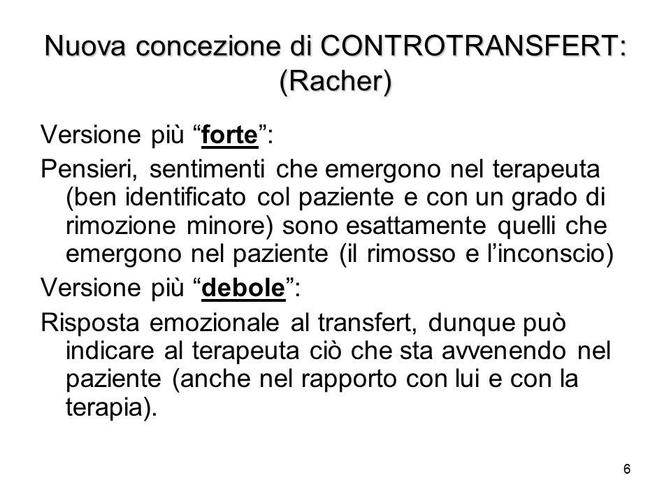 Nuova concezione di CONTROTRANSFERT: (Racher)