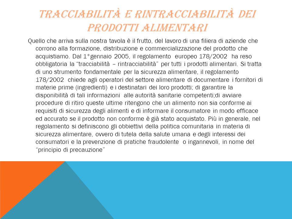 Tracciabilità e rintracciabilità dei prodotti alimentari