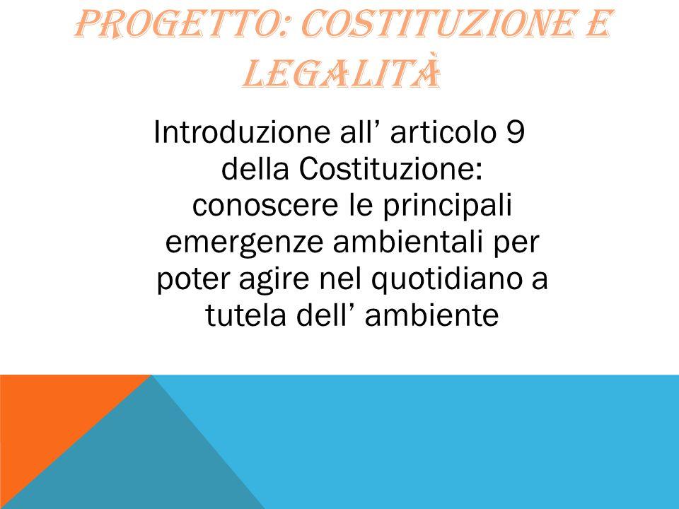 Progetto: costituzione e legalità