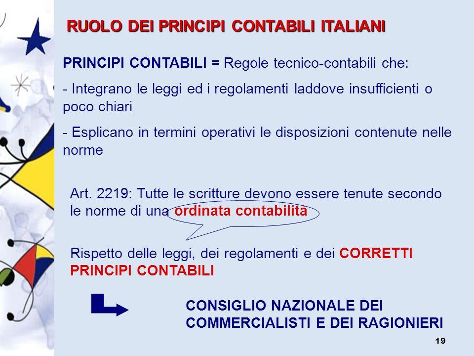 RUOLO DEI PRINCIPI CONTABILI ITALIANI