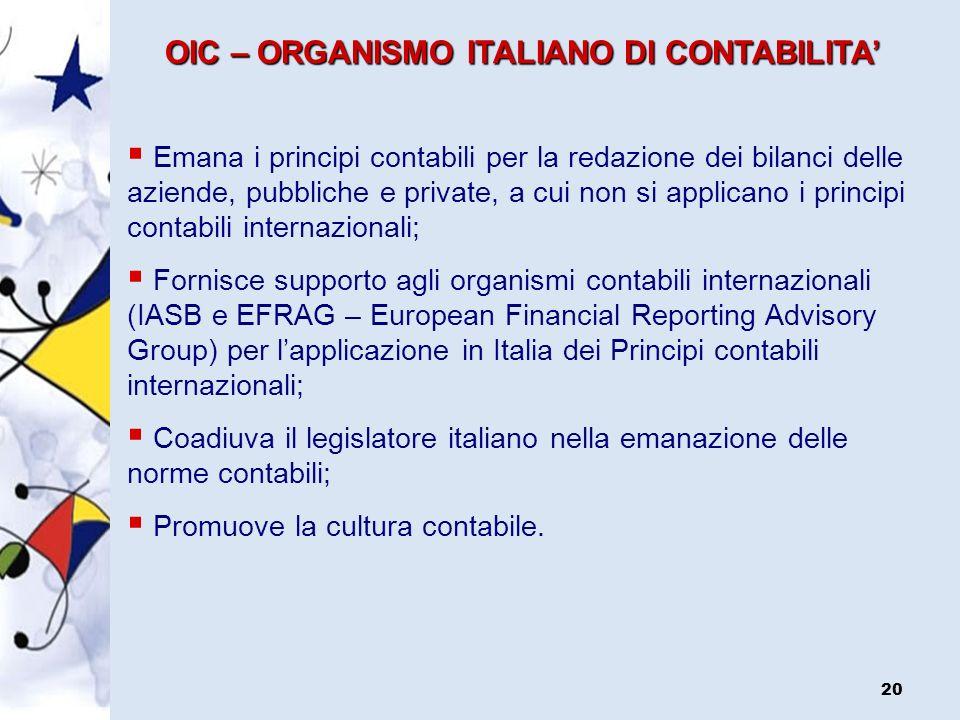OIC – ORGANISMO ITALIANO DI CONTABILITA'