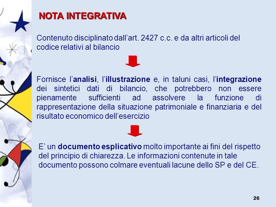 NOTA INTEGRATIVAContenuto disciplinato dall'art. 2427 c.c. e da altri articoli del codice relativi al bilancio.
