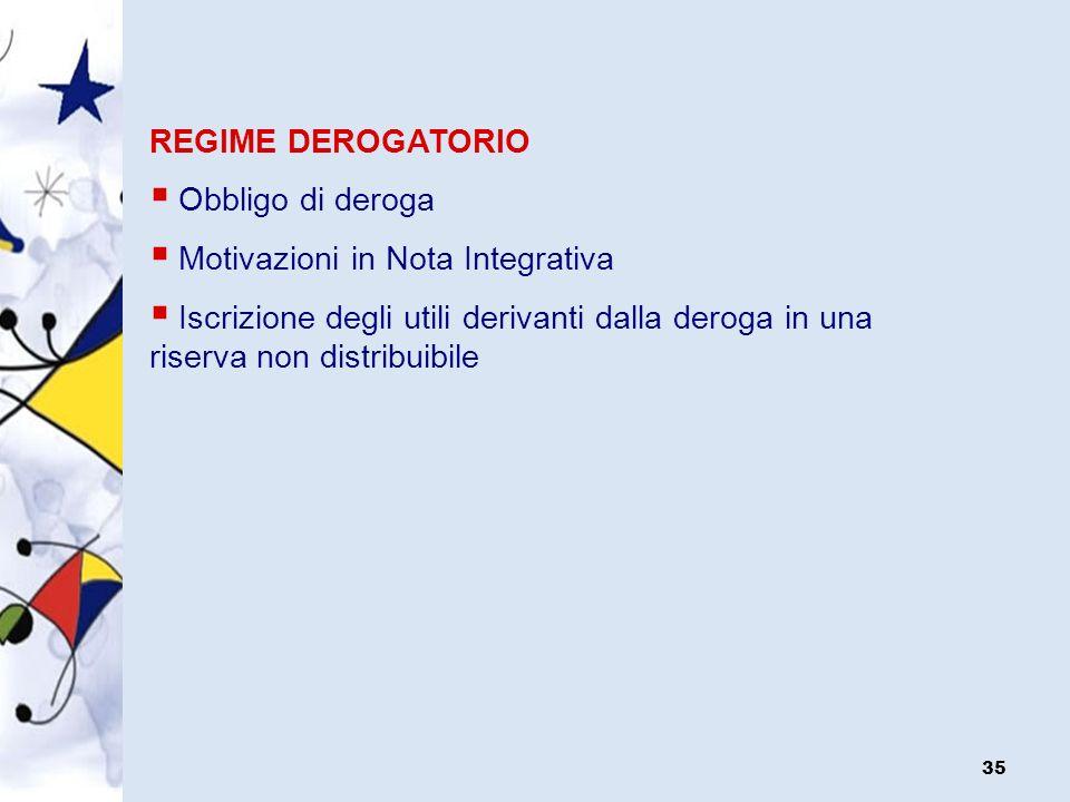 REGIME DEROGATORIO Obbligo di deroga. Motivazioni in Nota Integrativa.