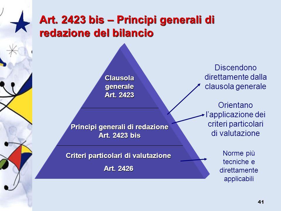 Principi generali di redazione Criteri particolari di valutazione