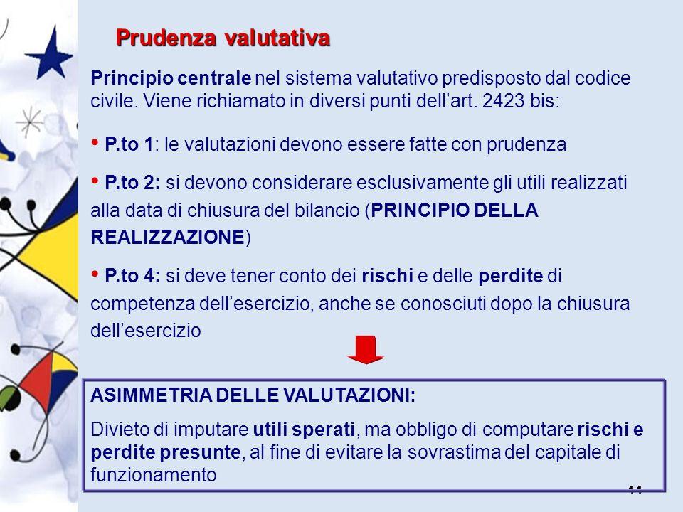 Prudenza valutativa Principio centrale nel sistema valutativo predisposto dal codice civile. Viene richiamato in diversi punti dell'art. 2423 bis: