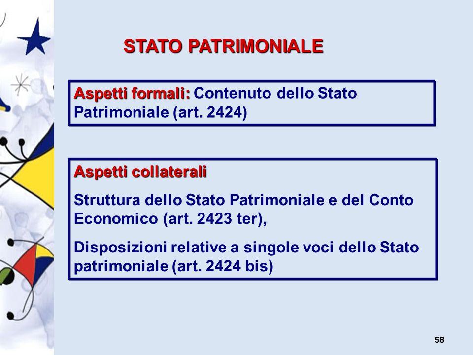 STATO PATRIMONIALE Aspetti formali: Contenuto dello Stato Patrimoniale (art. 2424) Aspetti collaterali.