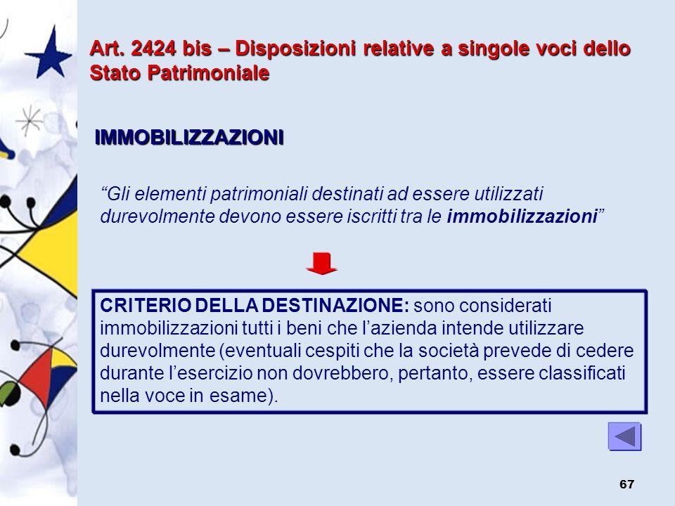 Art. 2424 bis – Disposizioni relative a singole voci dello Stato Patrimoniale