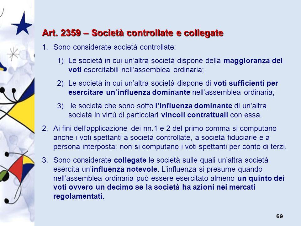 Art. 2359 – Società controllate e collegate