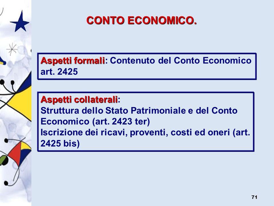 CONTO ECONOMICO. Aspetti formali: Contenuto del Conto Economico art. 2425. Aspetti collaterali:
