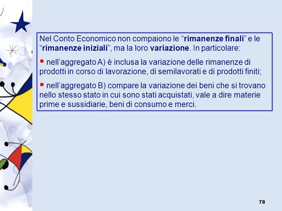 Nel Conto Economico non compaiono le rimanenze finali e le rimanenze iniziali , ma la loro variazione. In particolare:
