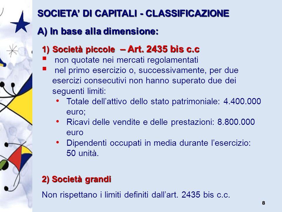 SOCIETA' DI CAPITALI - CLASSIFICAZIONE