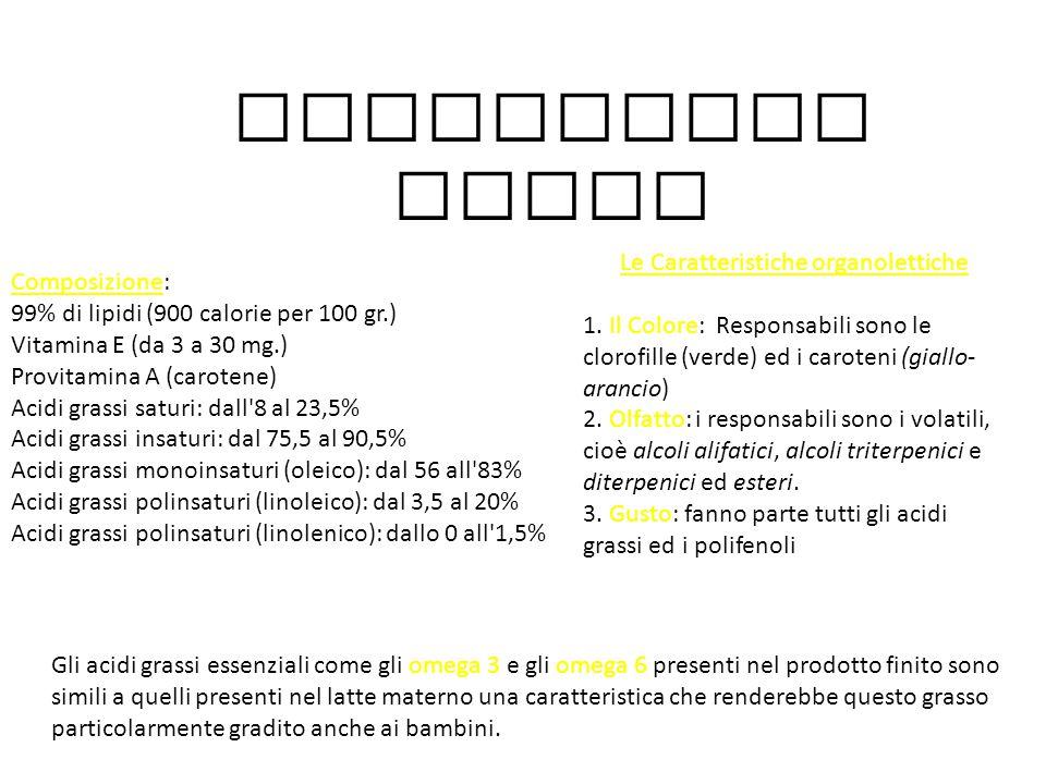 Le Caratteristiche organolettiche